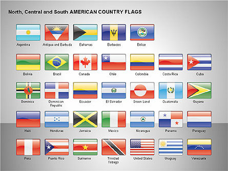 Free North, Central and South America Countries Flags, Slide 15, 00245, Shapes — PoweredTemplate.com