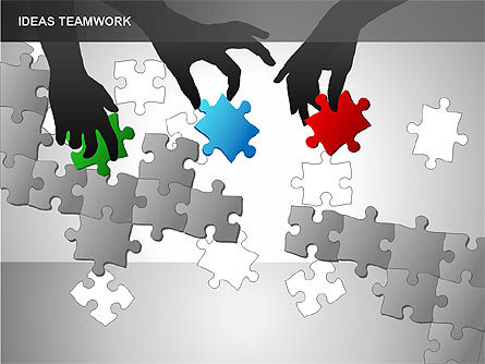 Puzzle Ideas Teamwork Diagrams, Slide 4, 00249, Puzzle Diagrams — PoweredTemplate.com