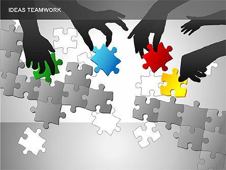 Puzzle Ideas Teamwork Diagrams, Slide 5, 00249, Puzzle Diagrams — PoweredTemplate.com