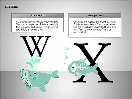 Letters with Animals Shapes Collection, Slide 13, 00250, Shapes — PoweredTemplate.com