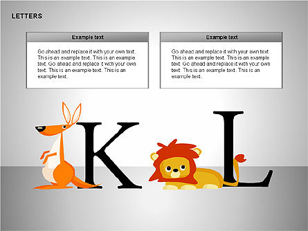 Letters with Animals Shapes Collection, Slide 7, 00250, Shapes — PoweredTemplate.com