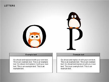 Letters with Animals Shapes Collection, Slide 9, 00250, Shapes — PoweredTemplate.com