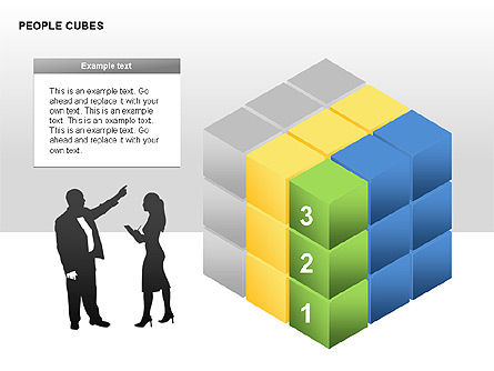People and Cubes Shapes, Slide 2, 00252, Silhouettes — PoweredTemplate.com