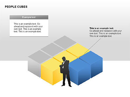 People and Cubes Shapes, Slide 3, 00252, Silhouettes — PoweredTemplate.com