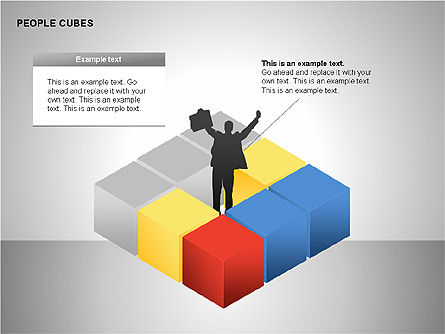 People and Cubes Shapes, Slide 4, 00252, Silhouettes — PoweredTemplate.com