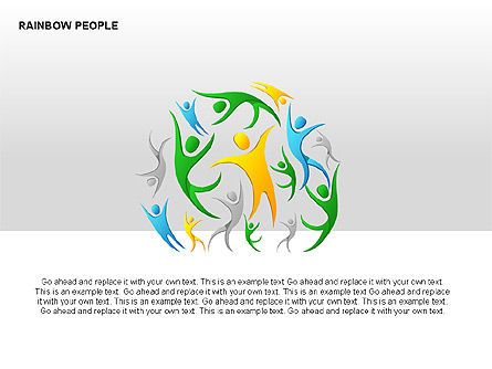 Rainbow People Diagrams, Slide 12, 00254, Shapes — PoweredTemplate.com