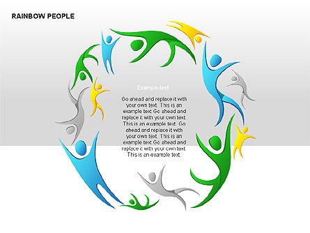 Rainbow People Diagrams, Slide 13, 00254, Shapes — PoweredTemplate.com