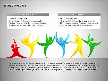 Rainbow People Diagrams, Slide 5, 00254, Shapes — PoweredTemplate.com