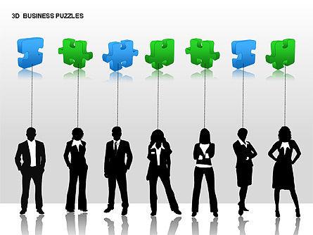 3D Business Puzzles, Slide 14, 00262, Puzzle Diagrams — PoweredTemplate.com