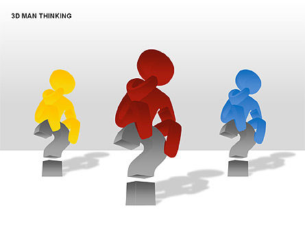 3D Man Thinking, 00265, Stage Diagrams — PoweredTemplate.com