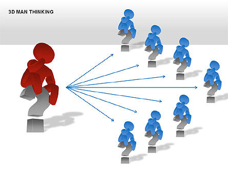 3D Man Thinking, Slide 9, 00265, Stage Diagrams — PoweredTemplate.com
