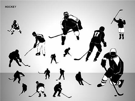 Hockey Shapes, Slide 16, 00268, Silhouettes — PoweredTemplate.com