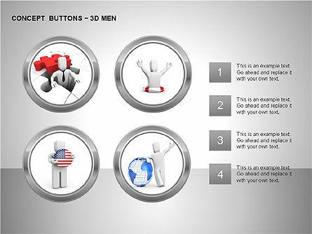 3D Man Buttons, Slide 10, 00272, Icons — PoweredTemplate.com