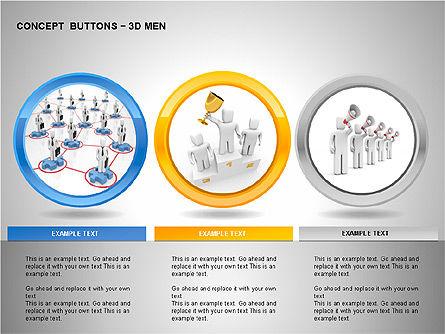 3D Man Buttons, Slide 12, 00272, Icons — PoweredTemplate.com