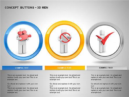 3D Man Buttons, Slide 13, 00272, Icons — PoweredTemplate.com