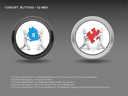 3D Man Buttons, Slide 14, 00272, Icons — PoweredTemplate.com