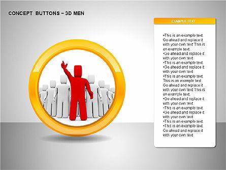 3D Man Buttons, Slide 15, 00272, Icons — PoweredTemplate.com