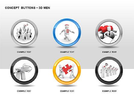 3D Man Buttons, Slide 3, 00272, Icons — PoweredTemplate.com