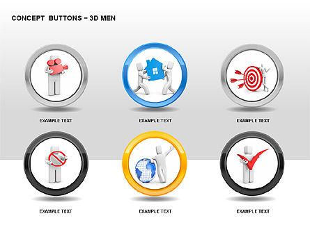 3D Man Buttons, Slide 4, 00272, Icons — PoweredTemplate.com