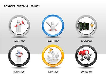3D Man Buttons, Slide 5, 00272, Icons — PoweredTemplate.com