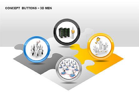 3D Man Buttons, Slide 7, 00272, Icons — PoweredTemplate.com