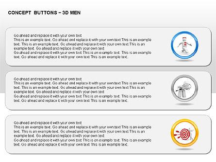 3D Man Buttons, Slide 9, 00272, Icons — PoweredTemplate.com