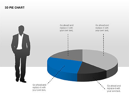 3D Pie Charts with Silhouettes, Slide 14, 00273, Pie Charts — PoweredTemplate.com