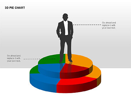 3D Pie Charts with Silhouettes, Slide 2, 00273, Pie Charts — PoweredTemplate.com