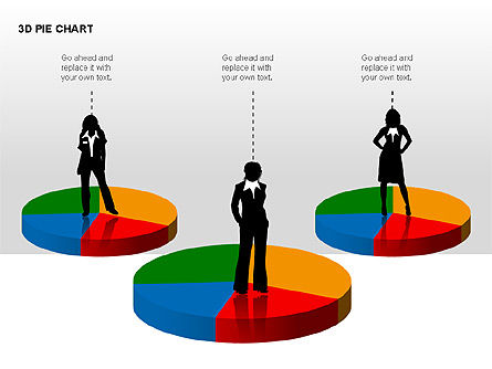 3D Pie Charts with Silhouettes, Slide 5, 00273, Pie Charts — PoweredTemplate.com