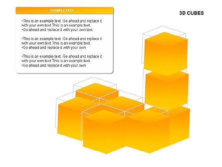 3D Cubes Charts, Slide 12, 00274, Text Boxes — PoweredTemplate.com