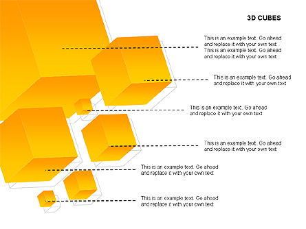 3D Cubes Charts, Slide 13, 00274, Text Boxes — PoweredTemplate.com