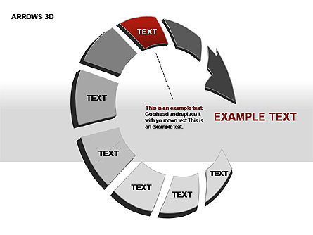 3D Arrows Shapes, Slide 4, 00296, Stage Diagrams — PoweredTemplate.com