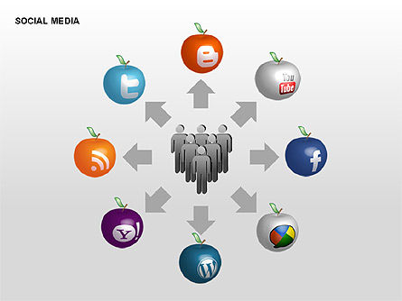 Social Media Diagrams, Slide 14, 00307, Flow Charts — PoweredTemplate.com