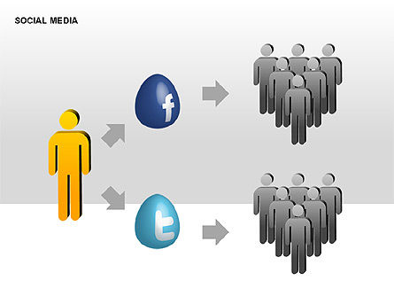 Social Media Diagrams, Slide 5, 00307, Flow Charts — PoweredTemplate.com