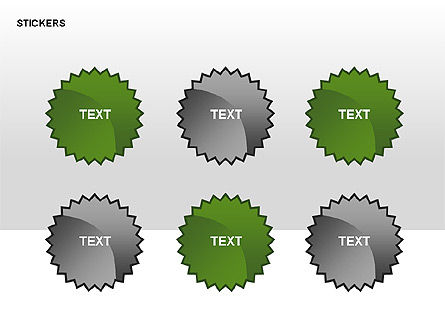 Stickers and Silhouettes, Slide 11, 00315, Icons — PoweredTemplate.com