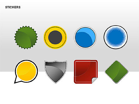 Stickers and Silhouettes, Slide 15, 00315, Icons — PoweredTemplate.com
