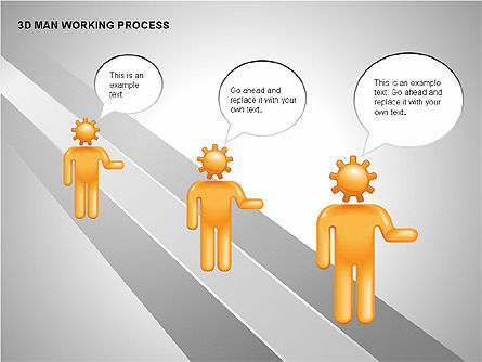 3D Man Working Process, Slide 10, 00324, Process Diagrams — PoweredTemplate.com