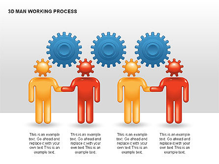 3D Man Working Process, Slide 2, 00324, Process Diagrams — PoweredTemplate.com
