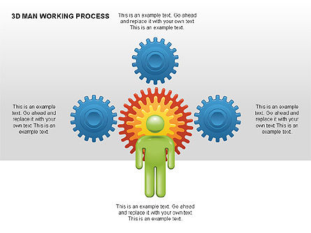 3D Man Working Process, Slide 3, 00324, Process Diagrams — PoweredTemplate.com