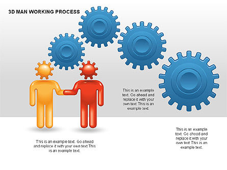 3D Man Working Process, Slide 4, 00324, Process Diagrams — PoweredTemplate.com