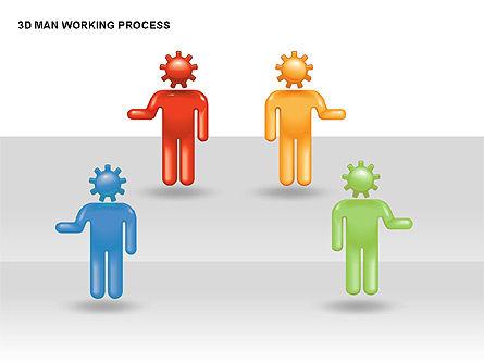 3D Man Working Process, Slide 9, 00324, Process Diagrams — PoweredTemplate.com