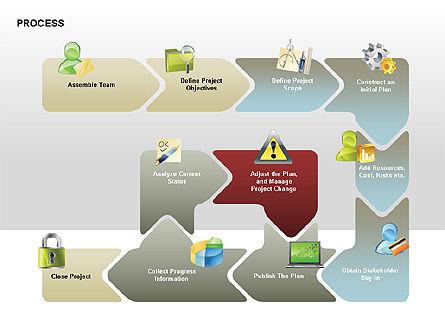 Successive Steps Process Diagrams, Slide 9, 00328, Process Diagrams — PoweredTemplate.com