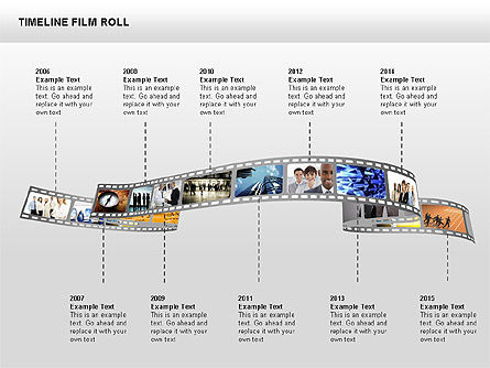 Timeline Film Roll, 00349, Timelines & Calendars — PoweredTemplate.com