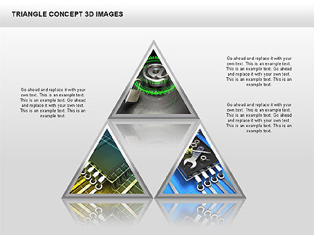 Triangle Concept 3D with Images, Slide 10, 00350, Shapes — PoweredTemplate.com