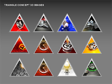 Triangle Concept 3D with Images, Slide 17, 00350, Shapes — PoweredTemplate.com