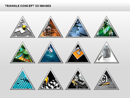 Triangle Concept 3D with Images, Slide 2, 00350, Shapes — PoweredTemplate.com