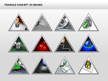 Triangle Concept 3D with Images, Slide 4, 00350, Shapes — PoweredTemplate.com