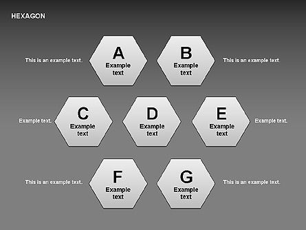 Hexagon Letters Diagram, Slide 4, 00366, Shapes — PoweredTemplate.com