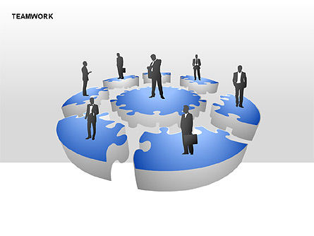 Teamwork Puzzle Donut Diagrams, 00371, Puzzle Diagrams — PoweredTemplate.com