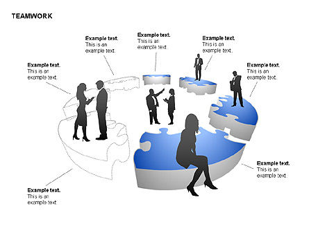 Teamwork Puzzle Donut Diagrams, Slide 10, 00371, Puzzle Diagrams — PoweredTemplate.com